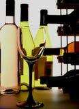 Het Glas & de Flessen van de wijn stock foto