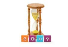 Het glas en de brieven van het uur stock afbeelding