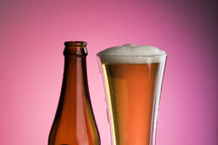 Het glas en de fles van het bier Stock Afbeelding