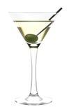 Het glas en de olijf van martini Stock Afbeeldingen