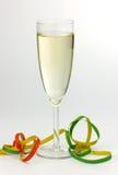 Het Glas en de wimpel van Champagne Royalty-vrije Stock Afbeelding