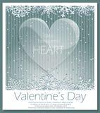 Het glas transparant hart van de valentijnskaartendag Royalty-vrije Stock Afbeeldingen