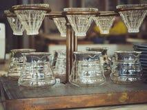 Het glas Uitstekende stijl van de druppelkoffie stock afbeelding