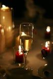 Het glas van Champagne bij huwelijk stock foto's