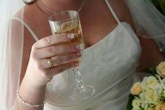 Het Glas van de bruid & van de Wijn Stock Fotografie
