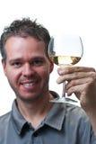 Het glas van de de holdingswijn van de mens, dat op wit wordt geïsoleerde Stock Foto's