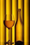 Het glas van de fles & van de wijn stock foto's