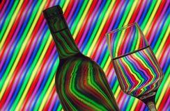 Het glas van de fles en van de wijn royalty-vrije stock foto