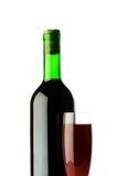 Het glas van de fles en van de wijn Stock Afbeelding
