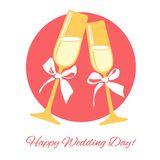 Het glas van de huwelijkschampagne Royalty-vrije Stock Afbeeldingen