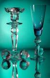Het glas van de kandelaar en van de wijnstok Stock Afbeelding