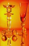 Het glas van de kandelaar en van de wijnstok Stock Afbeeldingen