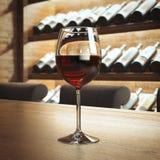 Het glas van de wijn op de houten lijst het 3d teruggeven Royalty-vrije Stock Afbeelding