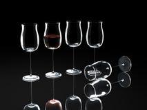 Het glas van de wijn op zwarte stock illustratie