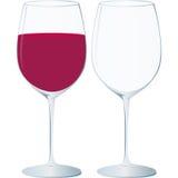 Het glas van het kristal, rode wijn en speciale gelegenheden royalty-vrije illustratie