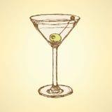 Het glas van schetsmartini met olijf Royalty-vrije Stock Foto