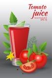 Het glas van van smakelijk vers tomatesap met rode rijpe tomaten, groene tomaat doorbladert Stock Foto