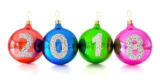 Het glasballen van Kerstmisdecoratie met nummer 2018 Royalty-vrije Stock Afbeelding