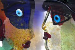 Het Glasbeeldhouwwerk van het Muranogezicht Stock Foto's