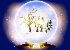 Het glasgebied van Kerstmis met weinig huis Stock Foto
