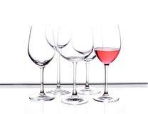 Het glasreeks van de wijn van vijf stuk. Royalty-vrije Stock Fotografie