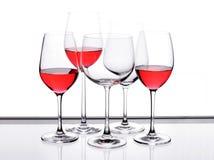 Het glasreeks van de wijn van vijf stuk. Stock Afbeelding