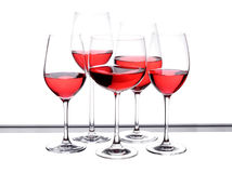 Het glasreeks van de wijn van vijf stuk Stock Fotografie