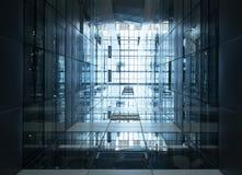 Het Glasstaal van het architectuurdetail Moderne de Bouwvoorgevel Stock Afbeelding