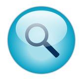Het glazige Blauwe Pictogram van het Onderzoek Royalty-vrije Stock Fotografie