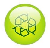 Het glazige Groene KringloopPictogram van het Overzicht Stock Afbeeldingen