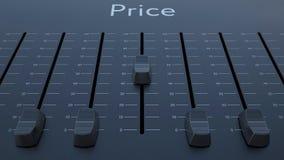 Het glijden fader met prijsinschrijving stock video