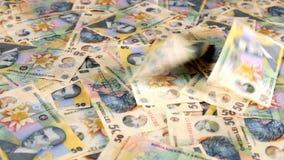 Het glijden meer dan Roemeense muntlaag stock footage