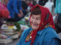 Het glimlachen Babushka in Rusland Royalty-vrije Stock Afbeelding