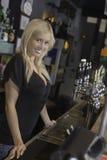 Glimlachende vrouwelijke barman bij de bar royalty-vrije stock afbeelding