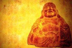 Het glimlachen Boedha de achtergrond van het zittingsperkament Royalty-vrije Stock Afbeelding