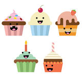 Het glimlachen cupcake Stock Foto's