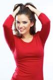 Het glimlachen de schoonheidsportret van het vrouwenhaar Mooie het glimlachen meisjesisol Royalty-vrije Stock Foto