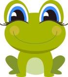 Het glimlachen de zitting van het kikkerbeeldverhaal Stock Foto's