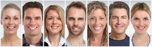 Het glimlachen geplaatste mensengezichten royalty-vrije stock foto's