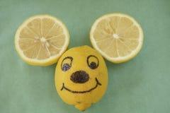 Het glimlachen het gezicht van de citroenmuis. Stock Foto's