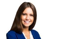 Het glimlachen jong die vrouwenportret op wit wordt geïsoleerd stock foto's