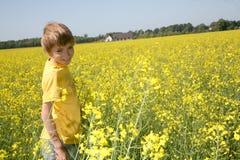 Het glimlachen jongen het naar huis terugkeren royalty-vrije stock afbeeldingen