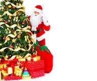 Het glimlachen Kerstman en Kerstboom Stock Afbeelding