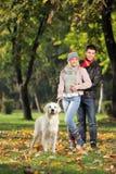 Het glimlachen koppelt en hun hond het stellen in het park Stock Afbeelding