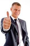 Het glimlachen manager het tonen beduimelt omhoog stock foto