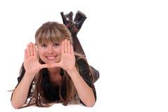 het glimlachen meisjes frame gezicht Stock Foto's