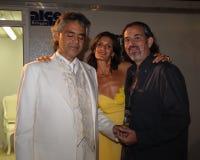Andrea Bocelli, Veronica Berti & Alberto Bocelli Stock Foto