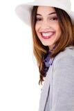 Het glimlachen stelt de donkerbruine modelpartij Stock Fotografie