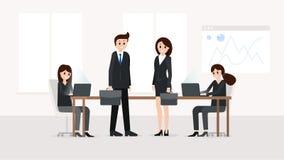 Het glimlachen teamworkers bij vergaderzaal vector illustratie