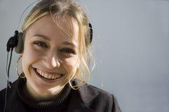 Het glimlachen telemarketer Royalty-vrije Stock Afbeelding